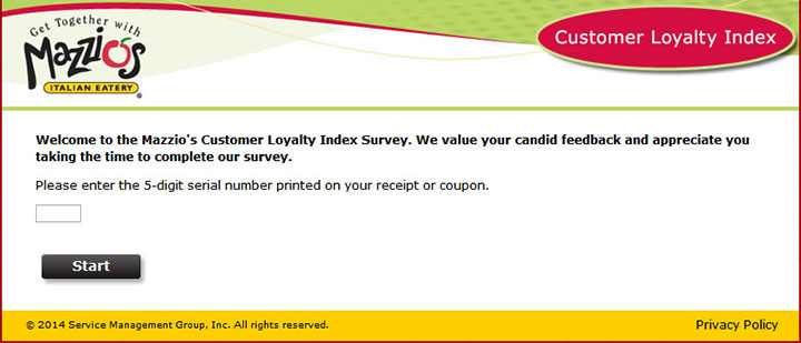 Mazzios Customer Loyalty Index Survey tellmazzios com official