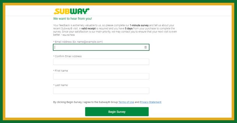 subway listens online survey