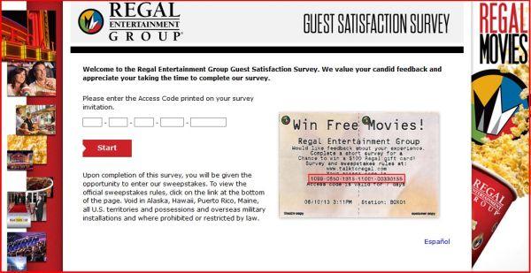 www.talktoregal.com – Regal Entertainment Group Survey to Win a $100